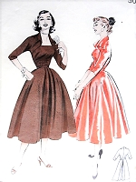 1950s LOVELY Full Skirted Dress Portrait Neckline Pattern BUTTERICK 6707 Oversized Winged Collar Day or Party Dress Bust 34 Vintage Sewing Pattern
