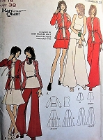 1970s MARY QUANT Jacket, Wide Leg Pants,  Mini Regular or Maxi Skirts, Blouse and Top Pattern BUTTERICK 6931 Fab Designs Bust 38 Vintage Sewing Pattern FACTORY FOLDED