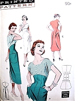 RARE 1950s BUTTERICK Pattern 6940 WALK AWAY Slim Sheath Wrap Dress Button Back  Day or Cocktail Dress Really Cute Style Quick N Easy To Make Bust 32 Vintage Sewing Pattern
