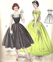 1950s DREAMY Evening Gown Party Dress Pattern BUTTERICK 7206 Flattering Draped Off Shoulders  Neckline Full Dancing Skirt Bust 34 Vintage Sewing Pattern