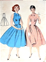 1950s ROCKABILLY Shoulder Free Empire Dress Pattern BUTTERICK 7343 Fabulous Design  Summer Dress or Party Dress Bust 34 Vintage Sewing Pattern