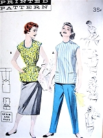 1950s CUTE Quick n Easy COVER-ALL Apron Pattern BUTTERICK 7471 An Apron for All Uses Bust 36 Vintage Sewing Pattern