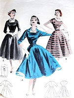 1950s Flattering PORTRAIT NECKLINE Full Skirt Dress Pattern BUTTERICK 7507 Three Style Versions Day  or Party Evening Includes Dickey Bust 36 Vintage Sewing Pattern