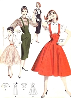 1950s ROCKABILLY Slim or Full Skirt Pattern BUTTERICK 7722  Retro Suspender Skirt  Jumper Dress  Blouse Bust 34 Vintage Sewing Pattern