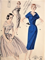 1950s STYLISH Slim or Full Dress with Portrait Collar Butterick 7751 Bust 32 Vintage Sewing Pattern