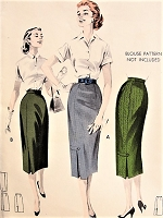 1950s SLEEK Fitted Skirt with Wrap Effect  Butterick 8020 Vintage Sewing Pattern