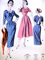 1950s GLAMOROUS Slim or Full Day or Cocktail Party Dress BUTTERICK 8136 Peg Top skirt, Eye Catching V Neckline Pull Thru Scarf Bust 40 Vintage Sewing Pattern