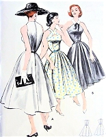 1950s BEAUTIFUL Full Skirted Halter Dress Pattern BUTTERICK 8150 Two Beautiful Bodice Versions Bust 36 Vintage Sewing Pattern