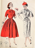 1950s FLATTERING Pleated Dress Butterick 8220 Bust 34 Vintage Sewing Pattern