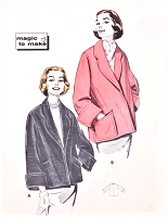 1950s EASY to Make Car Coat Jacket Topper Pattern BUTTERICK 8467 Classy Design Magic To Make Bust 40 Vintage Sewing Pattern