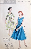 1950s FLIRTY Portrait Neckline Dress Pattern BUTTERICK 8604 Day or Party Dress Bust 34 Vintage Sewing Pattern FACTORY FOLDED