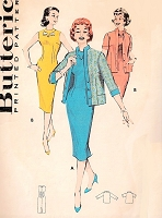 1950s CHIC Sheath Dress and Cardigan Jacket Pattern BUTTERICK 8637 Figure Show Off Slim Dress Bust 32 Vintage Sewing Pattern