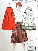 1950s FAB Pleated Skirt Pattern BUTTERICK 8716 Three Skirts Quick n Easy To Sew Waist 30 Vintage Sewing Pattern UNCUT