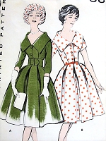1950s STUNNING Wide Collared Bouffant Dress Pattern BUTTERICK 8867 Day or Cocktail Party Two Versions Bust 32 Vintage Sewing Pattern FACTORY FOLDED