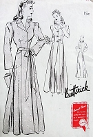 1940s GLAMOROUS Housecoat or Evening Coat Wrap Pattern BUTTERICK 9356 Stunning Design Two Versions  Bust 38 Vintage Sewing Pattern UNCUT