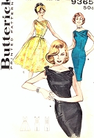 1950s SIZZLING Evening Cocktail Wedding Party Dress Pattern BUTTERICK 9365 Slim Sheath or Full Skirt Dress Eye Catching Surplice Neckline Bust 34 Vintage Sewing Pattern