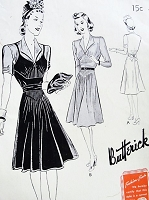1940s Afternoon Frock Dress Pattern BUTTERICK 9406 Gorgeous Pintuck Details Perfect for Sheers Bust 42 Vintage Sewing Pattern FACTORY FOLDED