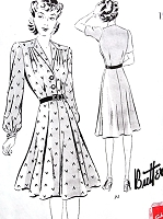 1940s FAB Frock Dress Pattern BUTTERICK 9409 Very Greer Garson Style Bust 42 Vintage Sewing Pattern FACTORY FOLDED