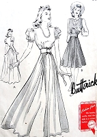 1940s GLAM Evening Gown or Day Dress Pattern BUTTERICK 9410 Beautiful Style Bust 36 Vintage Sewing Pattern FACTORY FOLDED