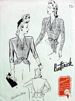 1940s DAZZLING  Evening Blouses Pattern Quick n Easy BUTTERICK 9420 Two Gorgeous Styles Peplum or Tuck In With Sash UNIQUE Neckline Bust 40 Vintage Sewing Pattern FACTORY FOLDED