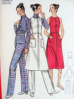 1960s MOD Top, Pants, Dress or Jumper Butterick 6126 Vintage Sewing Pattern Bust 32