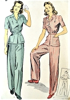 1940s WW II Pants Suit ROSIE RIVETER Pattern DuBarry 5382 Very Swing Shift Goldie Hawn War Time  Pants Peplum Jacket Bust 32 Vintage Sewing Pattern