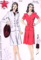 1940s WW II CLASSIC Suit Pattern HOLLYWOOD 1217  Fitted Jacket Skirt With Inverted Pleat Front and Back Bust 38 Vintage Sewing Pattern