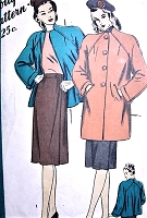 1940s BEAUTIFUL Flared Back Coat Jacket and Wrap Skirt Walking Suit Pattern HOLLYWOOD 1647 Lovely Shaped Neckline Coat in 2 Lengths, Slim Wrap Around Skirt Bust 38 Vintage Sewing Pattern