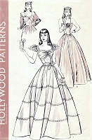 1940s GLAMOROUS Evening Gown and Shawl Pattern HOLLYWOOD 483 Two Beautiful Dreamy Versions Bust 32 Vintage Sewing Pattern