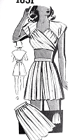 1940s BEACHWEAR Pattern Mail Order 1651  Lana Turner Style CUTE Wrap N Tie Crop Top, High Waist Shorts and Skirt Bust 32 Vintage Sewing Pattern FACTORY FOLDED