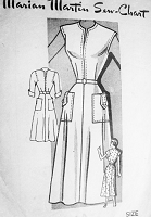 1940s STYLISH Dress Pattern MARIAN MARTIN 9048 Flattering Slit Neckline Three Style Versions Bust 32 Vintage Sewing Pattern