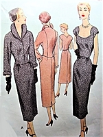 1950s STUNNING Cocktail Evening Party Dress and Wing Collar Jacket Pattern McCALL 8220 Unique Shaped Neckline Slim Dress Bust 36 Vintage Sewing Pattern
