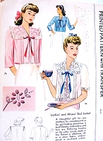 1940s BEAUTIFUL Bed Jackets Lingerie Pattern McCALL 1018 Bust 38-40 Vintage Sewing Pattern FACTORY FOLDED + Transfer
