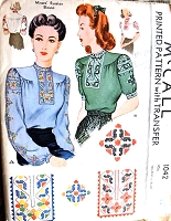 1940s WAR Time WW II Ethnic Embroidered Blouse Pattern McCALL 1042 Beautiful Embroidery Designs and Blouse Style Bust 38 Vintage Sewing Craft Pattern FACTORY FOLDED
