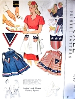 RARE Victory Apron Pattern McCALL 1090 World War II War Time 1943 Patriotic Aprons Vintage Sewing Pattern