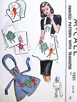 1940s FUN Apron, Mitts and Kitchen Towels Pattern McCALLS 1251 Includes CUTE Iron On Transfers Never Used Vintage Sewing Pattern FACTORY FOLDED