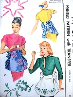 1940s FLIRTY Bustle Apron with Sequin or Embroidery Trim Pattern McCALL 1313 Two  Lovely Versions Hostess Aprons Vintage Sewing Pattern FACTORY FOLDED