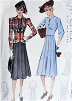 1930s STYLISH Dress and Jacket McCall 3077 Bust 34 Vintage Sewing Pattern