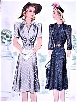 1940s War Time LOVELY Day or Evening Draped Bodice Dress Pattern McCALL 4209 Two Neckline Styles Flattering Design Bust 38 Vintage Sewing Pattern