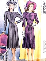 1940s LOVELY Shirred Dress Pattern McCALL 4391 Forties WW II Era Day or After 5 Dress Bust 32 Vintage Sewing Pattern