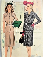 1940s STYLISH Two Piece Suit Dress McCall 5227 Bust 34 Vintage Sewing Pattern