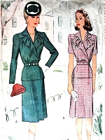 1940s LOVELY Peplum Suit Pattern McCALL 5308 Ruffled Collar Peplum Jacket Sim Skirt Bust 34 Vintage Sewing Pattern