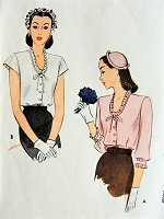 1940s BEAUTIFUl Film Noir Style Blouse Pattern McCALL 5585 Two Versions Bust 30 WW II  Vintage Sewing Pattern