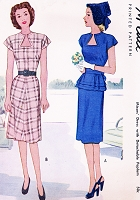 1940s FLIRTY Dress Pattern McCALL 6377 Key Hole Neckline, Detachable Peplum Day or Party Bust 34 Vintage Sewing Pattern UNCUT