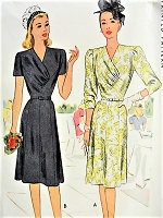 1940s CHIC V-Neck Dress McCall 6533 Bust 34 Vintage Sewing Pattern