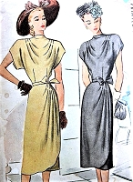 1940s BEAUTIFUL Film Noir Side Draped Dress Day or Evening Pattern McCALL 6963 Flattering Draped Bodice Bust 32 Vintage Sewing Pattern