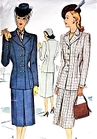 1940s FABULOUS Suit Pattern McCALL 6986 Stylish Fitted  Jacket Slim Skirt Bust 36 Vintage Sewing Pattern