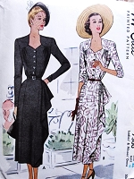 1940s BEAUTIFUL Day or Evening Dress Pattern McCALL 7300 Film Noir Style Side Cascade Flattering Neckline Bust 40 Vinage Sewing Pattern UNCUT