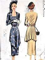 1940s DRAMATIC Dress Pattern McCALL 7501 Beautiful Day or Cocktail Evening Bust 30 Vintage Sewing Pattern