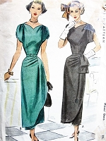 1940s STUNNING 1940s Cocktail Evening Party Dress Pattern McCALL 7508 Figure Flattering Design Bust 32 Vintage Forties Sewing Pattern